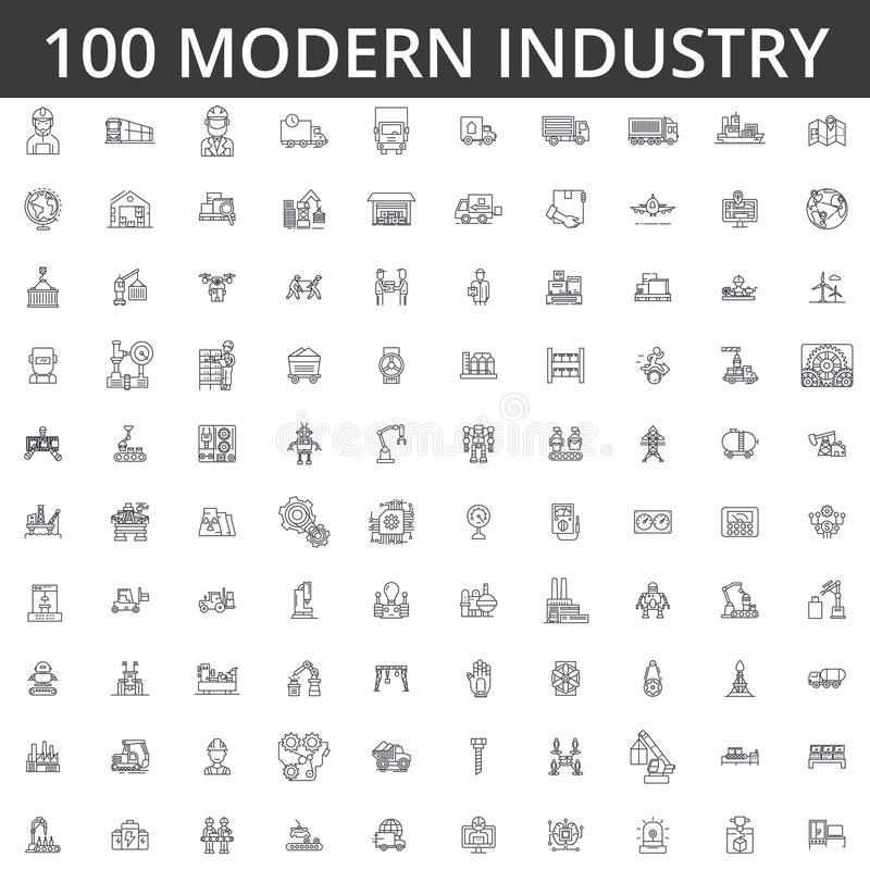 Przemysł, logistyki, roślina, magazyn, fabryka, inżynieria, budowa, dystrybucja, manufaktura, ciężki przemysłowy royalty ilustracja