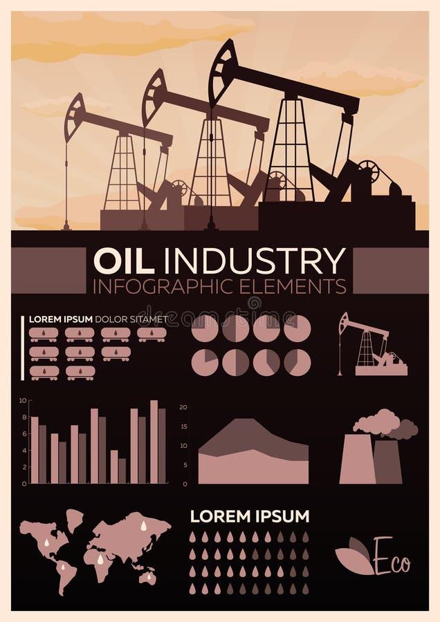 Przemysł paliwowy infographic Basztowy eksploracja złóż ropy naftowej Wektorowa płaska ilustracja royalty ilustracja