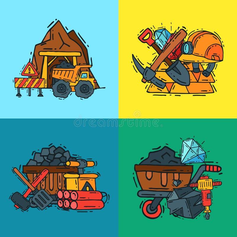Przemysł wydobywczy deseniowa wektorowa ilustracja Zawód i zajęcie górnik Coalmining wyposażenie, górników narzędzia ilustracja wektor