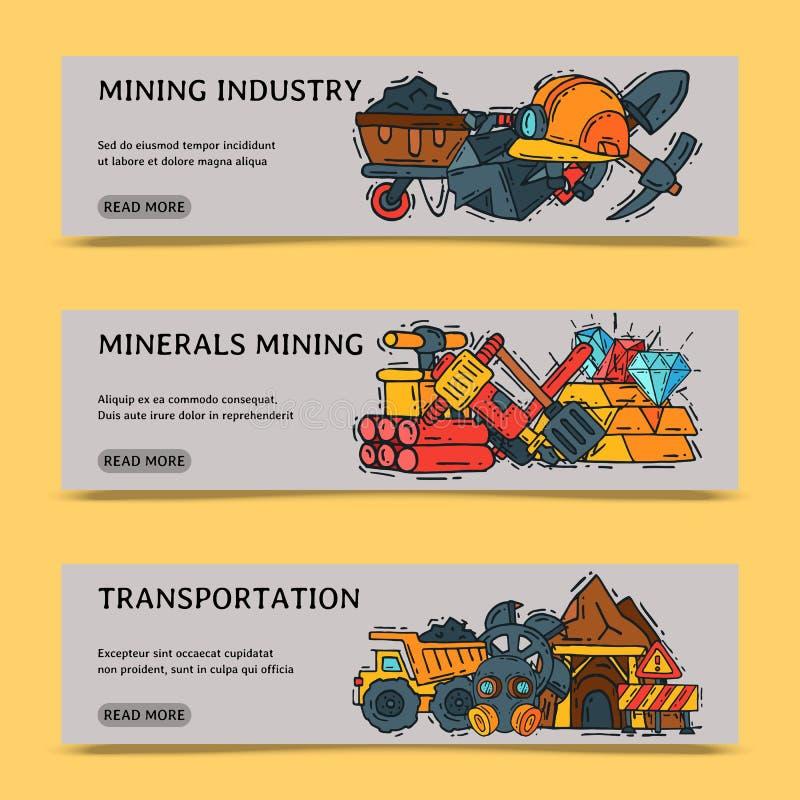 Przemysł wydobywczy ustawiający sztandaru wektoru ilustracja Zawód i zajęcie Coalmining wyposażenie, górników narzędzia ilustracja wektor