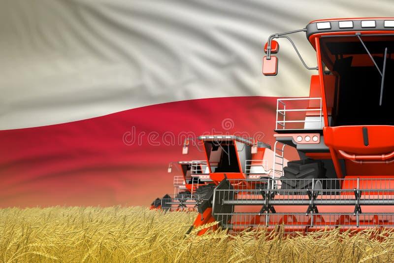 Przemysłowa 3D ilustracja 3 czerwonego nowożytnego syndykata żniwiarza z Polska flagą na pszenicznym polu - zamknięty widok, upra ilustracji