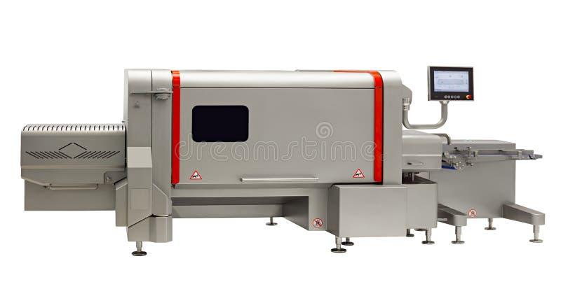 Przemysłowa maszyna przemysł spożywczy, linia produkcyjna w karmowej fabryki linii konwejeru maszynie odizolowywającej na białym  fotografia royalty free