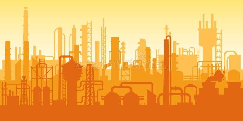 Przemysłowa roślina, fabryczna sylwetka, powierzchowność przedsięwzięcie scena, rafineria ropy naftowej royalty ilustracja