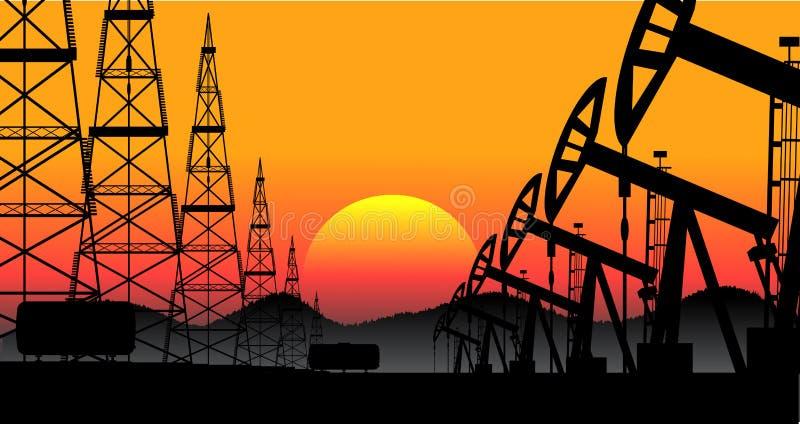Przemysłowa tło produkcja ropy naftowej ilustracji