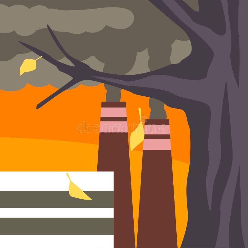 Przemysłowe Fabryczne budynku i dymienia kominu drymby, natury zanieczyszczenia roślina, Przemysłowa smogu wektoru ilustracja ilustracji