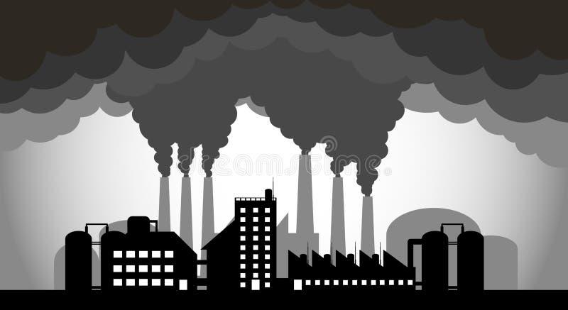 Przemysłowe fabryki zanieczyszczają środowisko royalty ilustracja