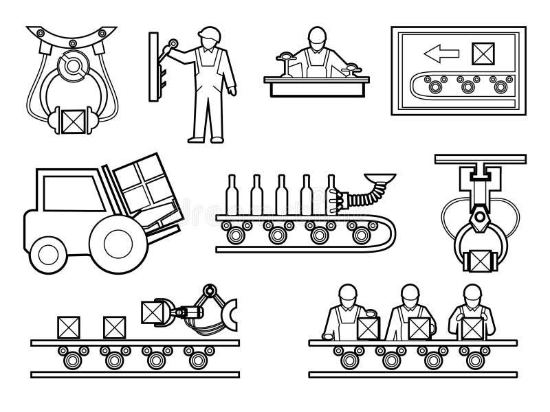 Przemysłowe i proces produkcyjny ikony ustawiać wewnątrz royalty ilustracja