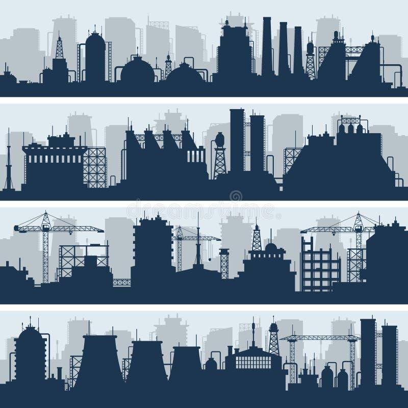 Przemysłowe wektorowe linie horyzontu Nowożytne fabryki i praca budynku sylwetki royalty ilustracja