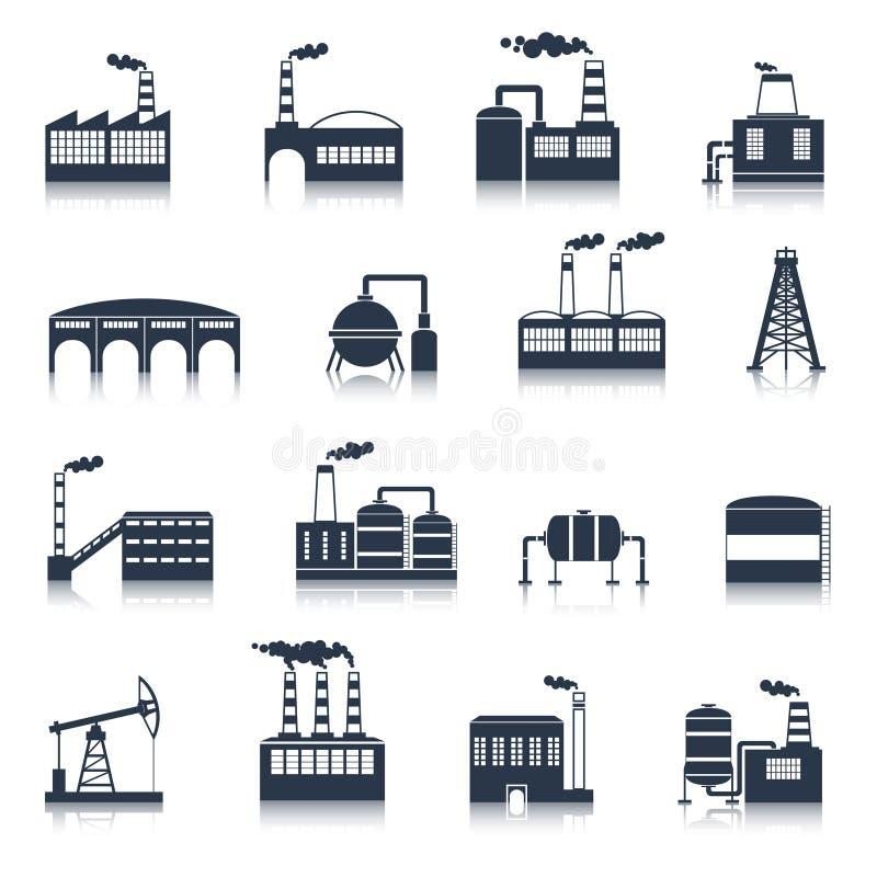 Przemysłowego budynku ikon czerń ilustracji