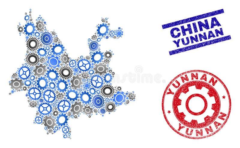 Przemysłowej mozaiki Yunnan prowincji Grunge i mapy Wektorowe foki ilustracji