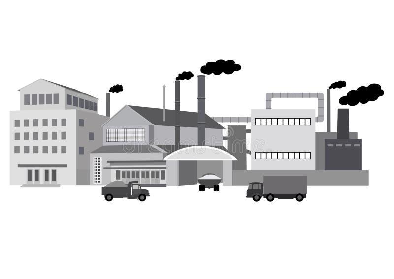 Przemysłowi budynki fabryczni ilustracji