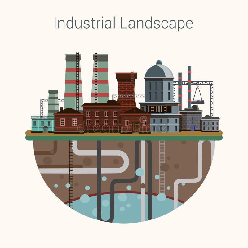 Przemysłowi fabryczni budynki ustawiający w płaskim projekcie royalty ilustracja