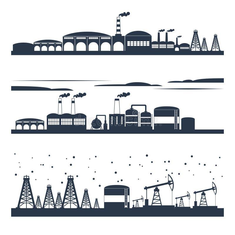 Przemysłowi miasto linii horyzontu sztandary royalty ilustracja
