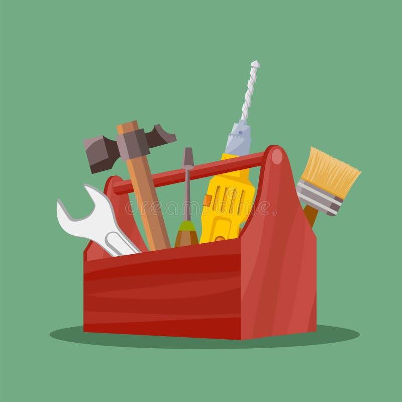 Przemysłowi narzędzia młot, wyrwanie i śrubokręt w, wytłaczają wzory pudełko ilustracji