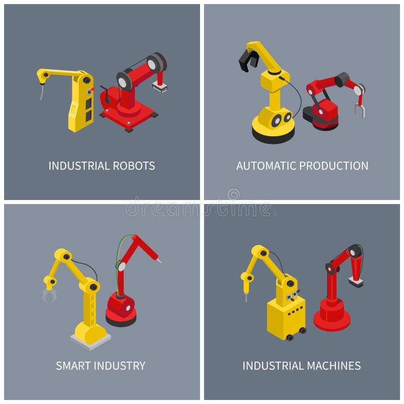 Przemysłowi roboty i Mądrze Automatyczny maszyna set ilustracji