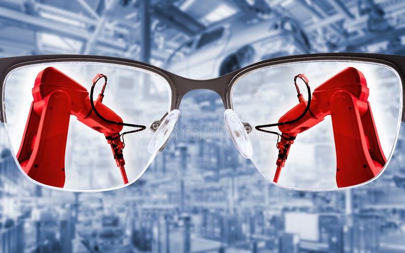 Przemysłowi roboty w produkcji zdjęcie stock