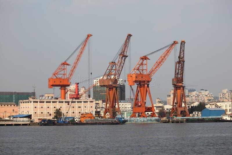 przemysłowy żurawia port obrazy stock