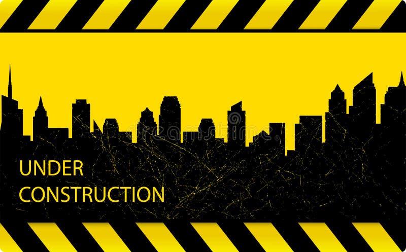Budowy tło z grunge miastem ilustracji