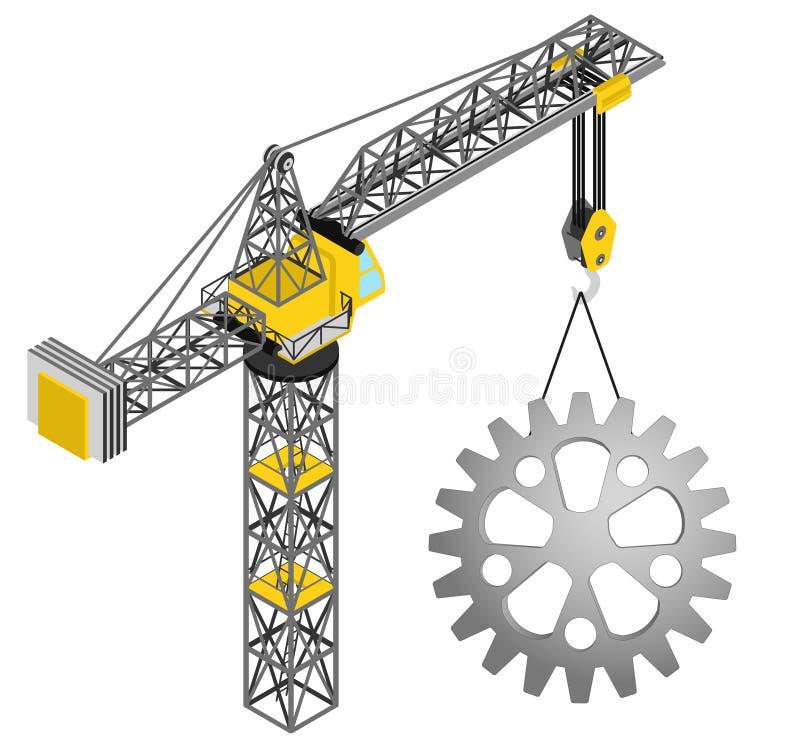 Przemysłowy cogwheel wieszający na odosobnionym dźwigowym rysunku ilustracji