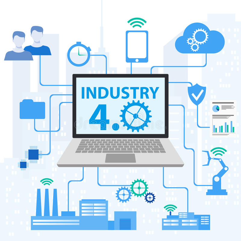 4 przemysłowy (0) Cyber systemów Fizycznych pojęć, Infographic przemysł 4 ikony