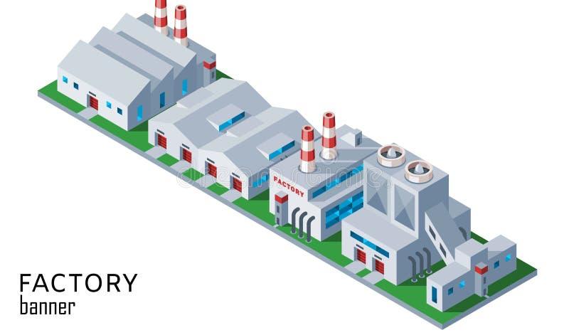 Przemysłowy fabryki i magazynu budynek Isometric, stosowny dla, diagramów, infographics, ilustracji i inny, ilustracja wektor