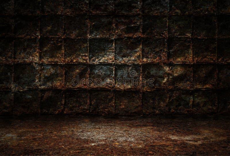 Przemysłowy grunge tło, ciemny pokój z ścianami ośniedziali metali talerze, brudna metal podłoga ilustracja wektor