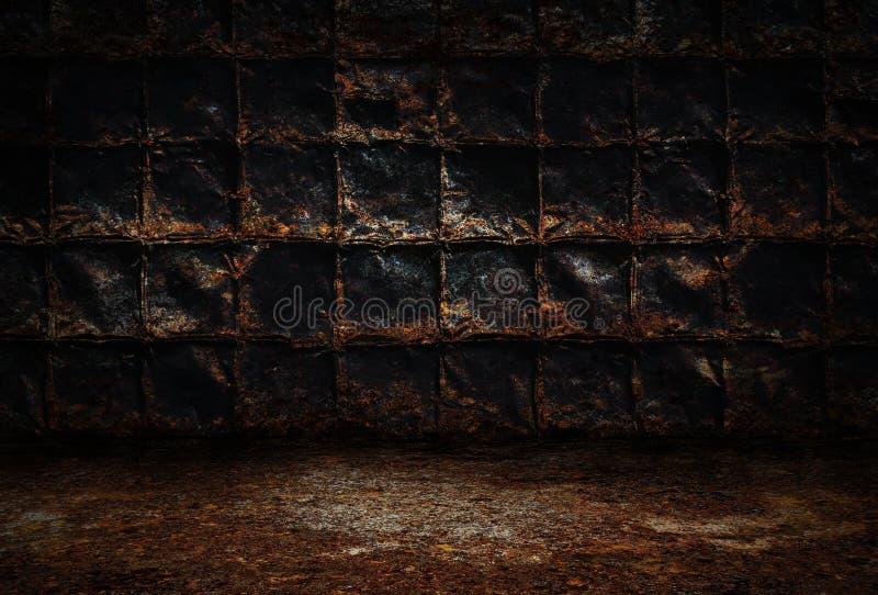 Przemysłowy grunge tło, ciemny pokój z ścianami ośniedziali metali talerze, brudna metal podłoga zdjęcia stock