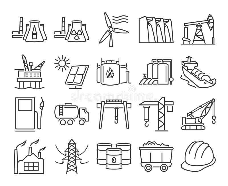 przemysłowy ikona set ilustracja wektor