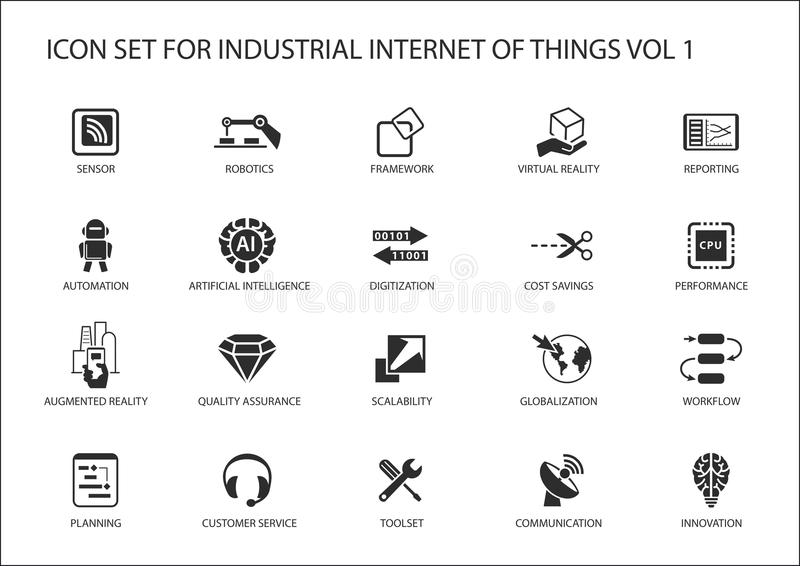 Przemysłowy internet rzeczy ikony set royalty ilustracja