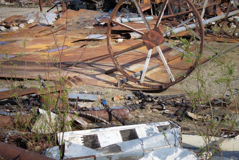 Przemysłowy jałowy usyp w Bilibino Chukotka Rosja obraz stock