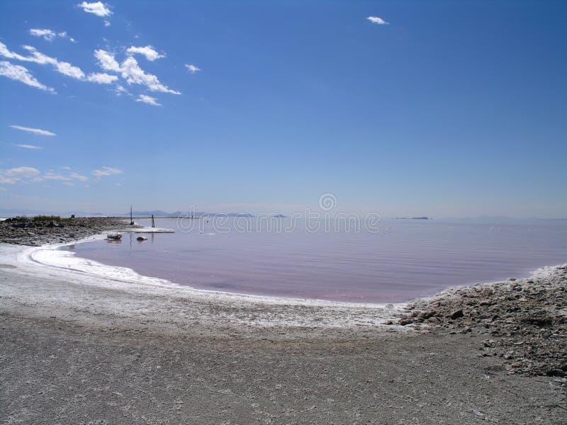 przemysłowy jeziorny resztek soli brzeg fotografia stock
