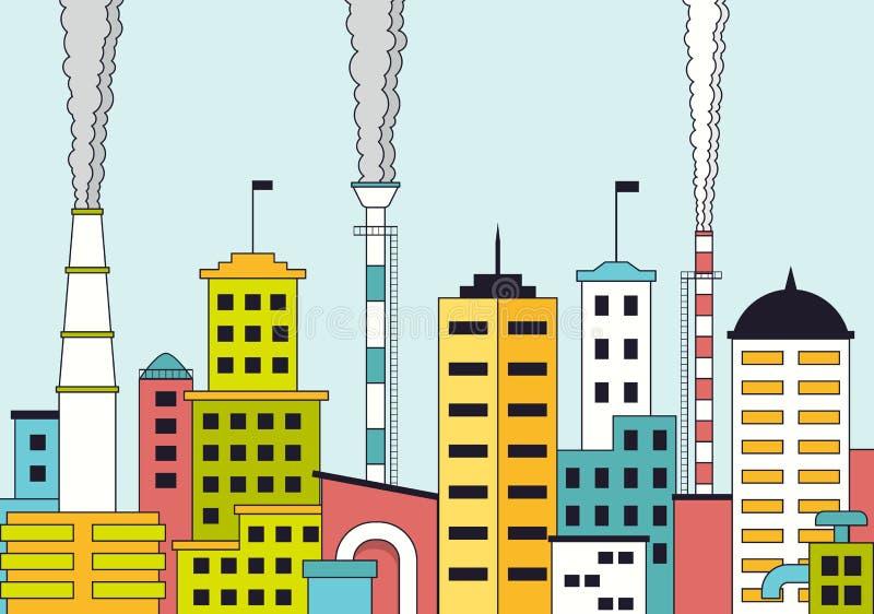 Przemysłowy krajobraz z fabrykami i kominami ilustracji