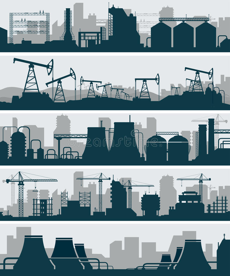 Przemysłowy linia horyzontu set ilustracji