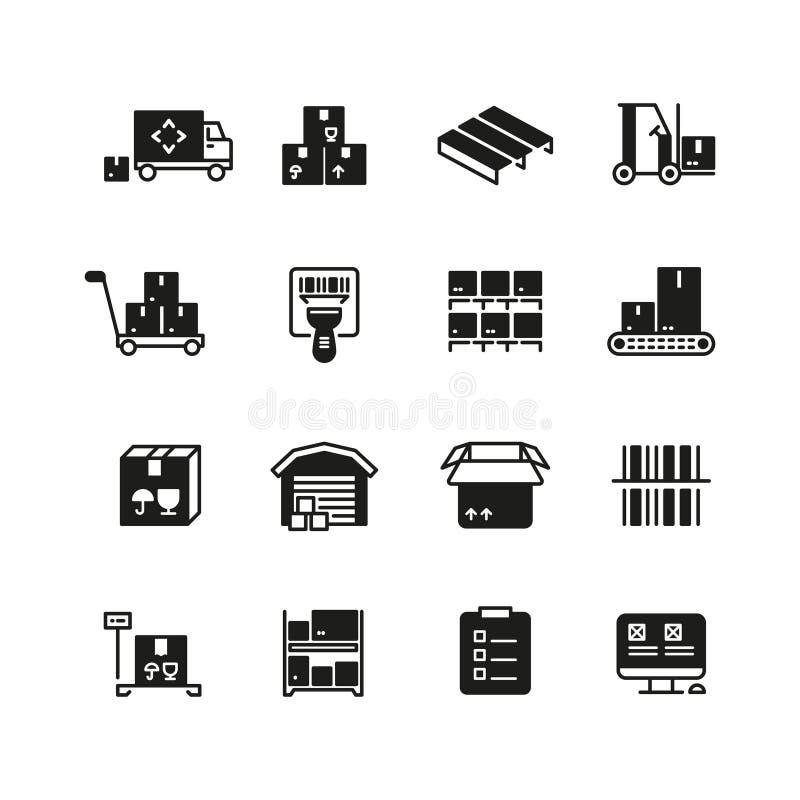 Przemysłowy magazyn, logistyki i dystrybuci zarządzania wektoru ikony, ilustracja wektor