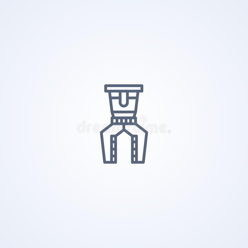 Przemysłowy mechaniczny pazur, wektorowe najlepszy szarość wykłada ikonę ilustracja wektor