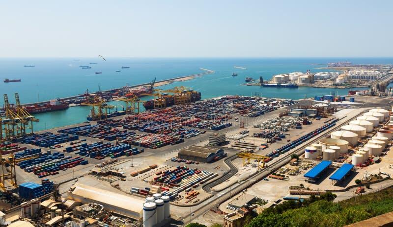 Przemysłowy port Barcelona w dniu obrazy stock
