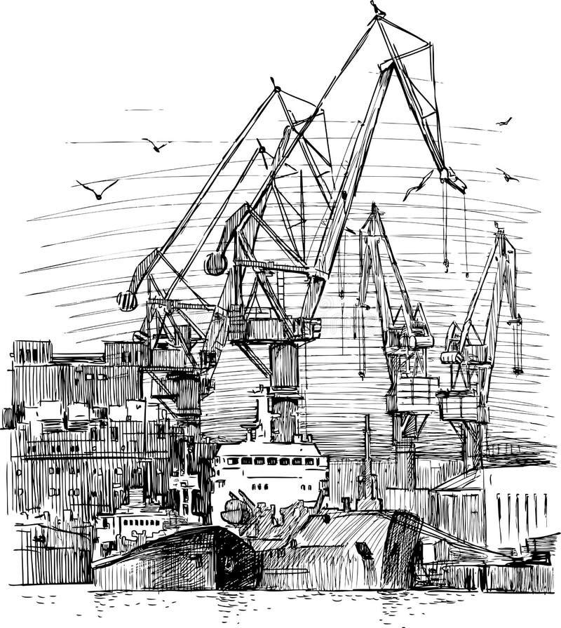 Przemysłowy port morski royalty ilustracja