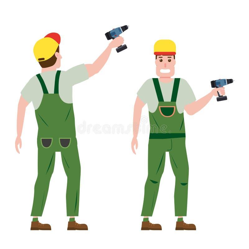 Przemysłowy pracownika budowlanego charakter z z śrubokrętu narzędziem, installer, przodem i tylnym widokiem, Wektor, odizolowywa royalty ilustracja