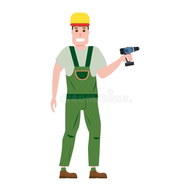 Przemysłowy pracownika budowlanego charakter z z śrubokrętu narzędziem, installer Wektor, odizolowywający, kreskówki mieszkania s ilustracja wektor