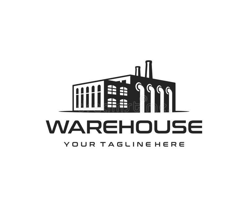 Przemysłowy rękodzielniczy budynku logo projekt Przemysłowy fabryki i magazynu wektorowy projekt ilustracja wektor