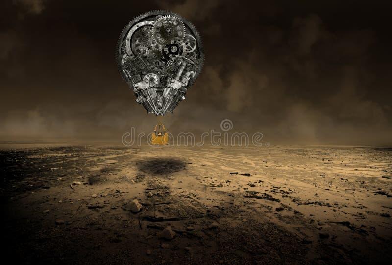 Przemysłowy steampunk gorącego powietrza balon zdjęcia stock