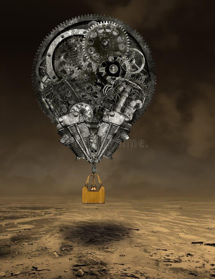 Przemysłowy steampunk gorącego powietrza balon obrazy stock