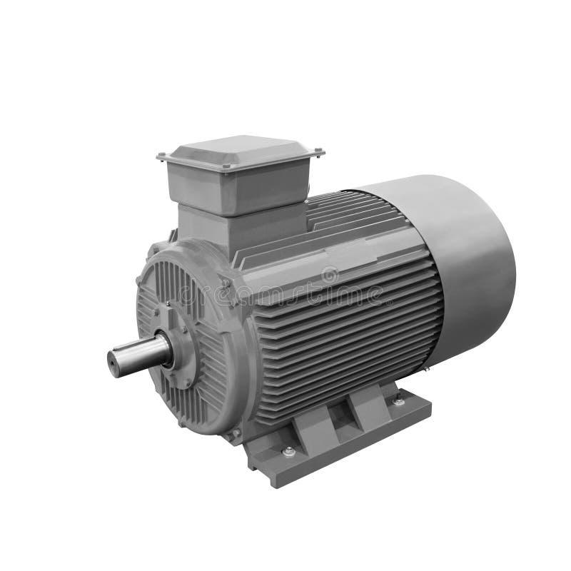 Przemysłowy szary elektryczny motorowy generator odizolowywający na białym tle zdjęcia stock