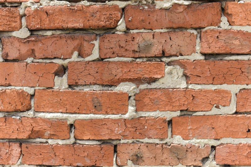 Przemysłowy tło, magazynowa ściana z cegieł z niedbałym cementu złączem Tło starego rocznika brudna ściana z cegieł zamknięta w g obrazy royalty free