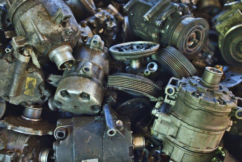 Przemysłowy tło z udziałami samochodowe części lubi kompresory zdjęcie stock