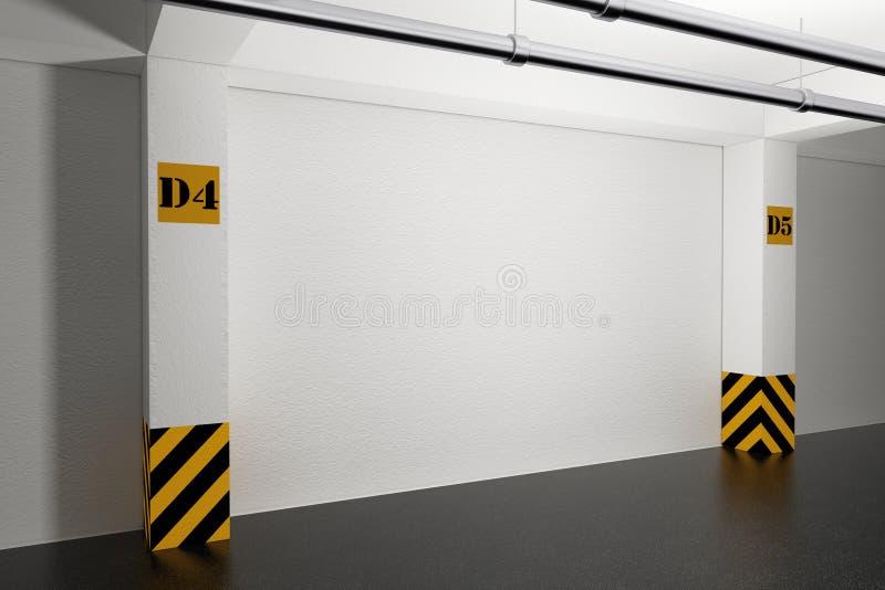 Przemysłowy Wewnętrzny pojęcie Pusty podziemny garaż 3 ilustracji