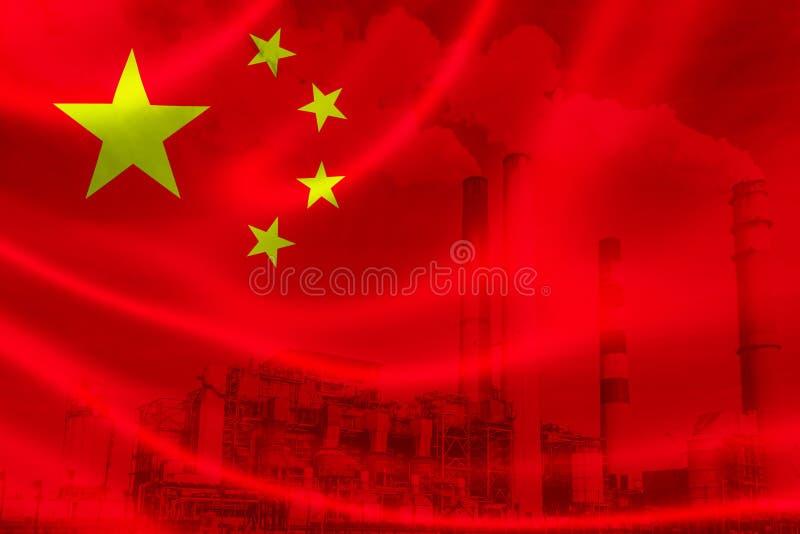 Przemysłowy zanieczyszczenie w Chiny ilustracja wektor