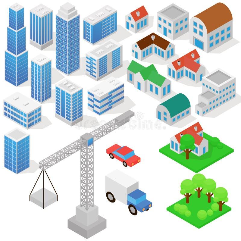 Przemysłowy zasadzony na isometric projekci trójwymiarowi domy, budynki, żurawie, samochody i inny, projektuje ilustracja wektor