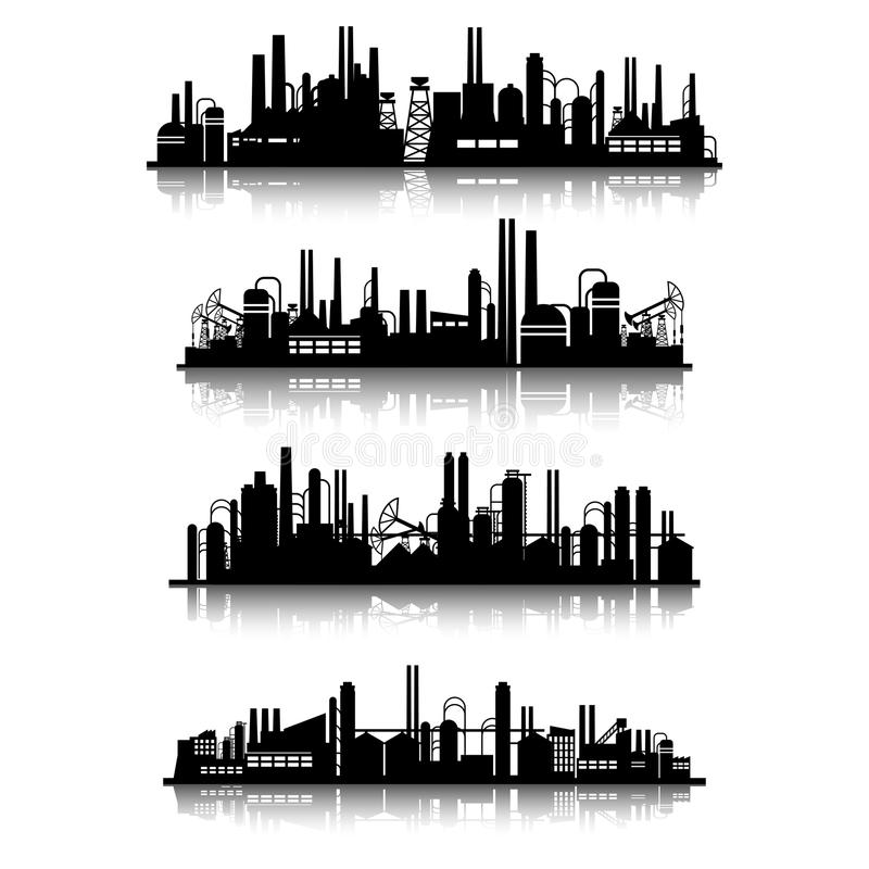 Przemysłowych budynków sylwetki