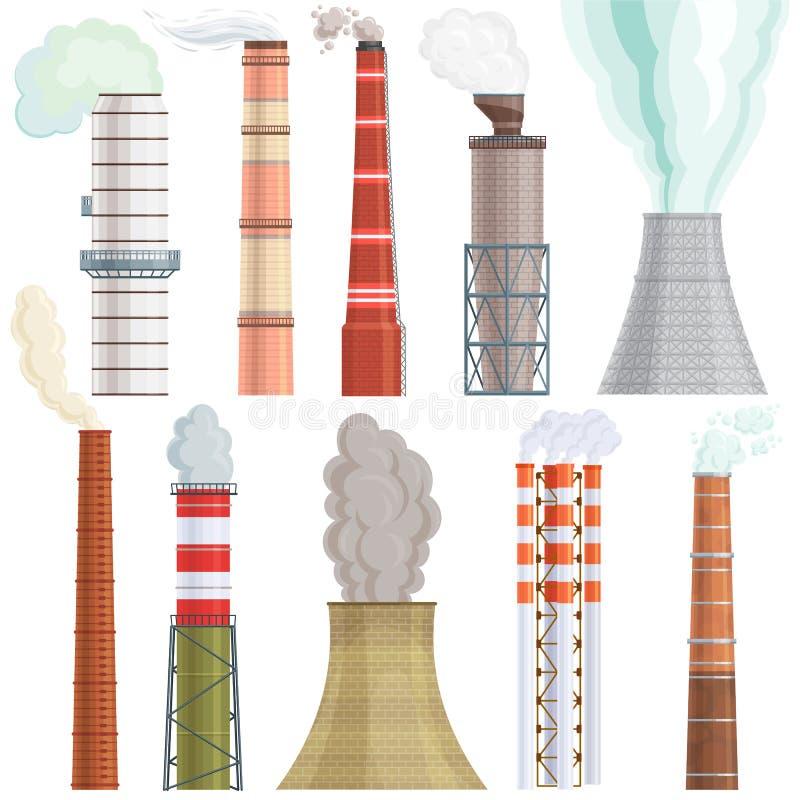 Przemysłu fabryczny wektorowy przemysłowy kominowy zanieczyszczenie z dymem w środowiska ilustracyjnym ustawiającym chimneyed dry ilustracja wektor